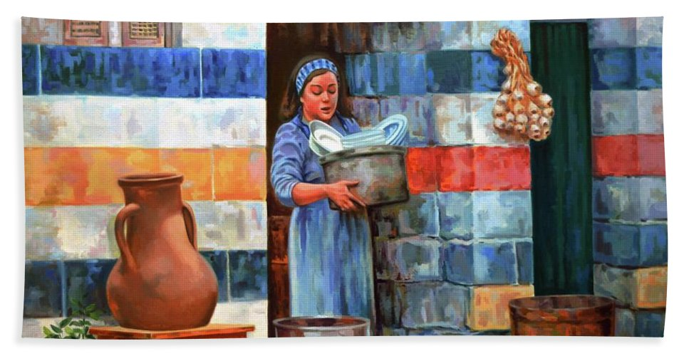 Impressionism Bath Sheet featuring the painting Syrian House by Ahmed Bayomi