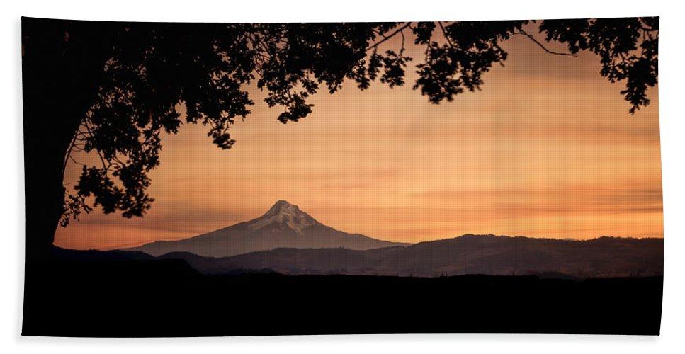 Hood River Bath Sheet featuring the photograph Mt. Hood At Sunset by Don Schwartz
