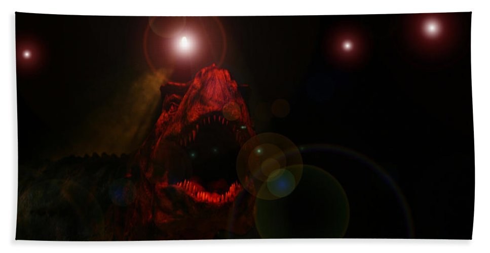 Tyrannosaurus Rex Dinosaur Extinct Teeth Killer Jaws Bath Sheet featuring the photograph T Rex by Andrea Lawrence