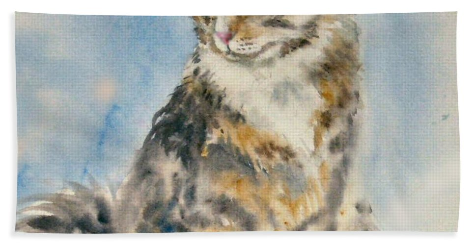 Cat Painting. Original.tabby Cat Bath Sheet featuring the painting Tabby Cat by Frances Gillotti