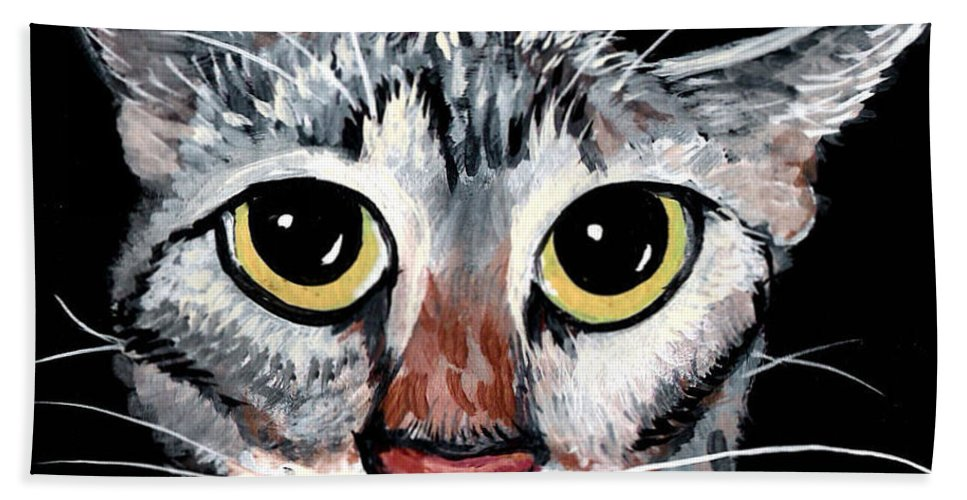 Cat Bath Towel featuring the painting Tabby Eyes by Elaine Hodges