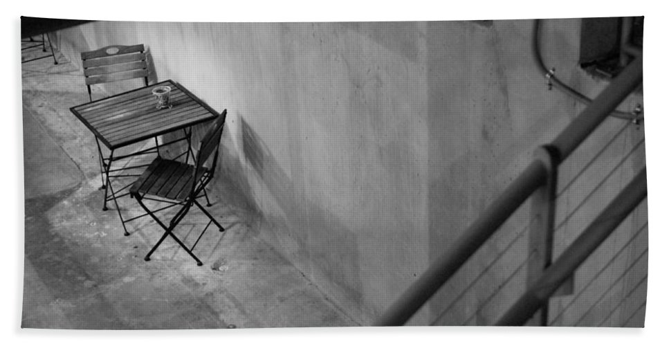 Urban Hand Towel featuring the photograph Table For Two Black And White by Jill Reger