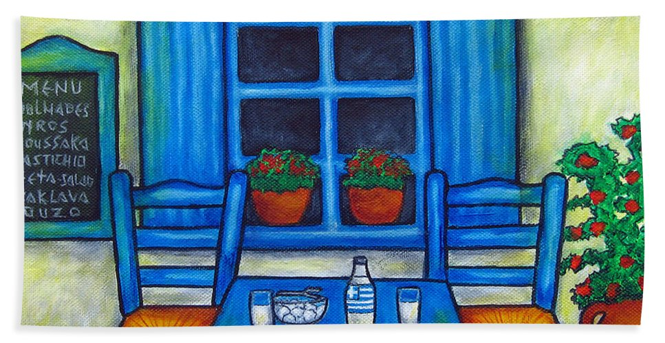 Blues Bath Sheet featuring the painting Table for Two in Greece by Lisa Lorenz