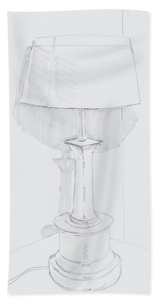 A Quiet Corner Hand Towel featuring the drawing Table Lamp Drawing - A Quiet Corner by Mike Jory