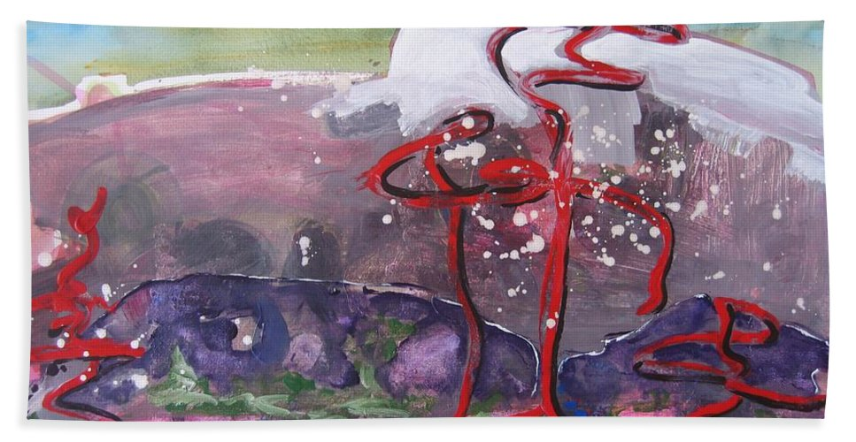 Abstract Paintings Hand Towel featuring the painting Table Land3 by Seon-Jeong Kim