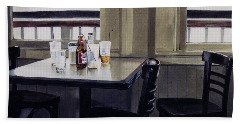 Beer Hand Towel featuring the painting Table Setting by Denny Bond