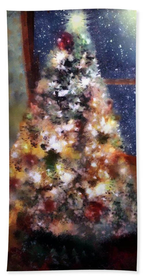 Christmas Hand Towel featuring the painting Tabletop Tannenbaum by RC DeWinter