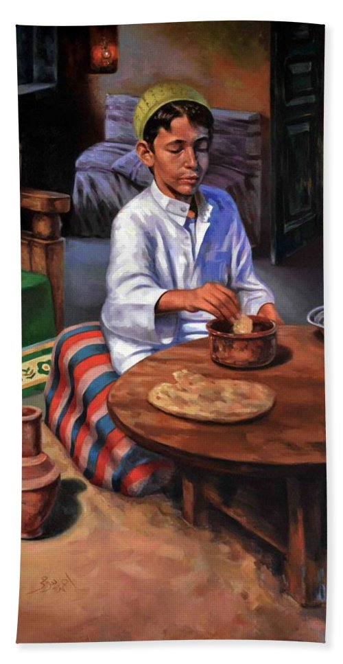 Farm Bath Sheet featuring the painting Tablia Table by Ahmed Bayomi