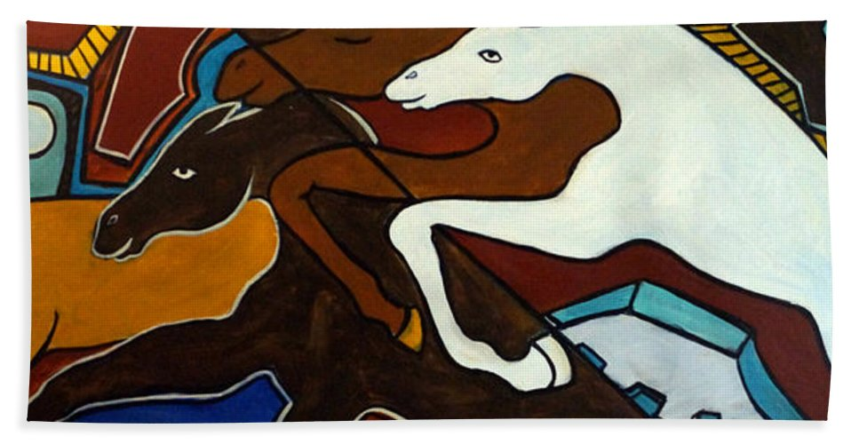 Horse Abstract Bath Towel featuring the painting Taffy Horses by Valerie Vescovi