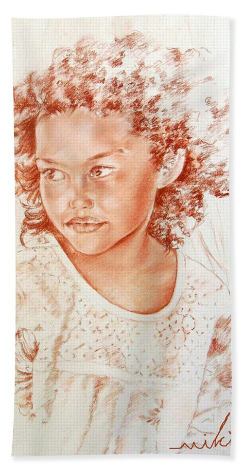 Drawing Persons Hand Towel featuring the painting Tahitian Girl by Miki De Goodaboom