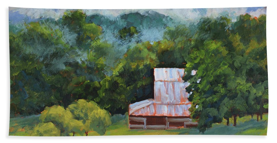 Impressionism Bath Sheet featuring the painting Tahlequah Ridge Morning by Keith Burgess
