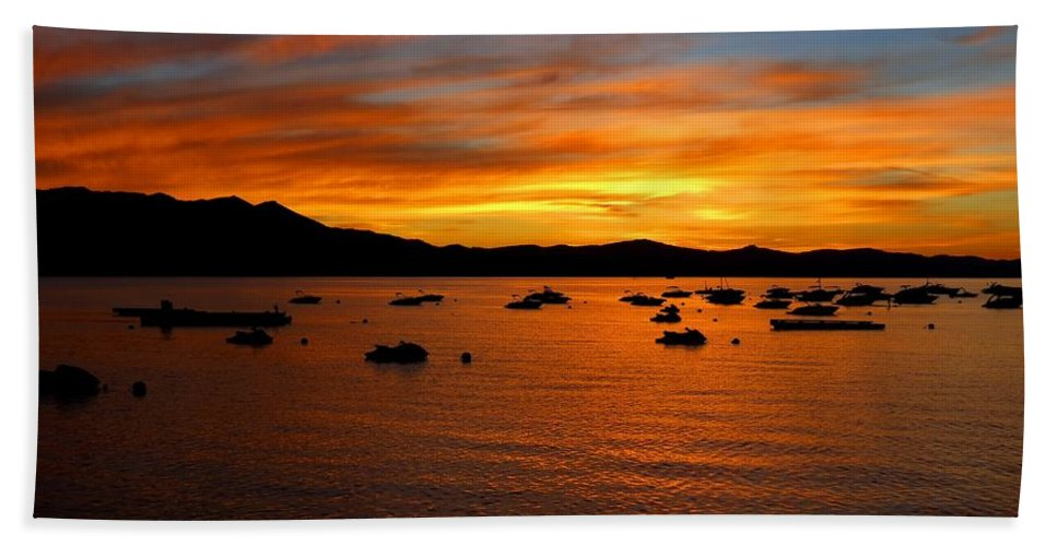 Lake Tahoe Bath Sheet featuring the photograph Tahoe Sunset by Connor Beekman
