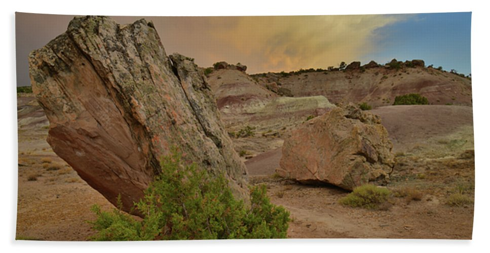 Little Park Road Bentonite Site Bath Sheet featuring the photograph Tail End Of Storm At Sunset Over Bentonite Site by Ray Mathis