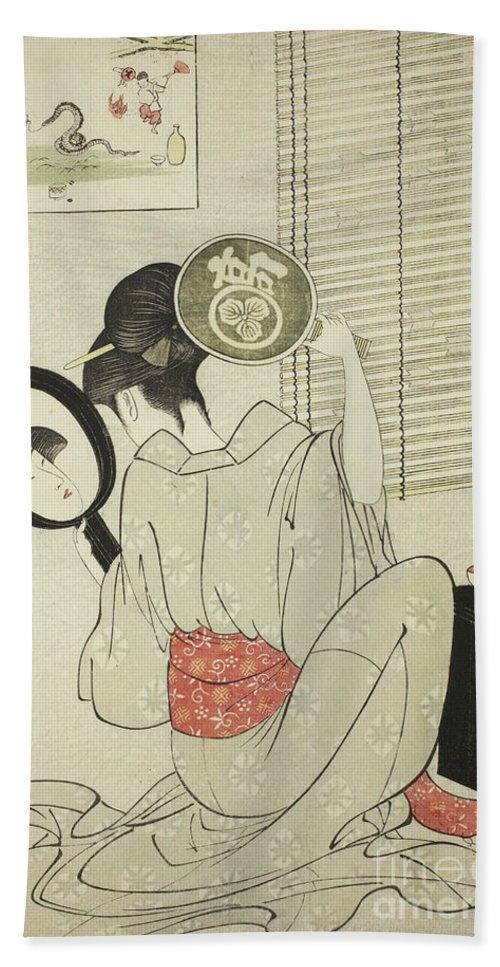 Oban Hand Towel featuring the painting Takashima Ohisa by Kitagawa Utamaro