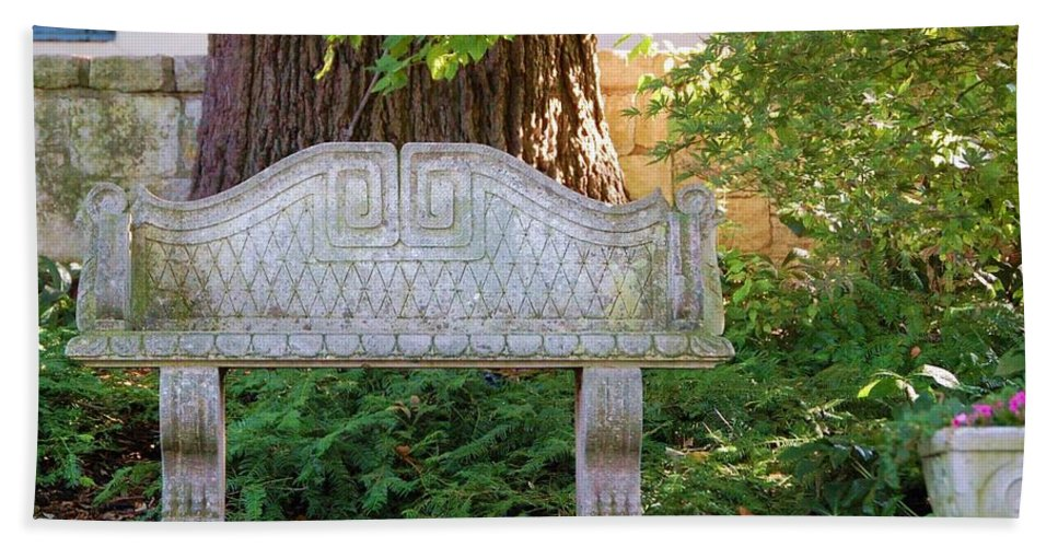Bench Hand Towel featuring the photograph Take a Break by Debbi Granruth