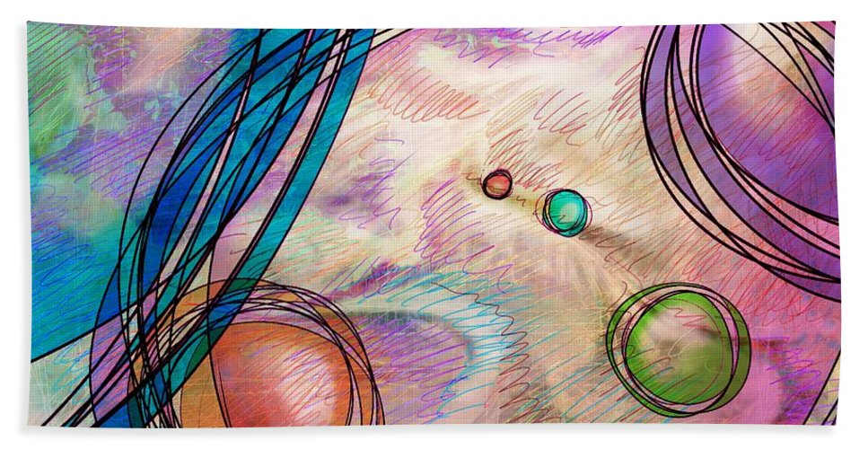 Abstract Bath Sheet featuring the digital art Take A Right Up Here by Rachel Christine Nowicki