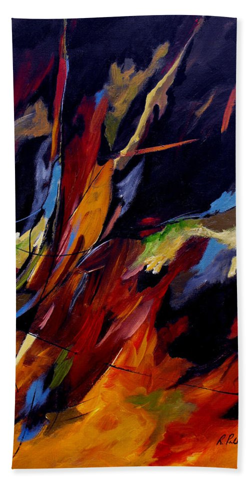 Abstract Bath Sheet featuring the painting Take Action by Ruth Palmer