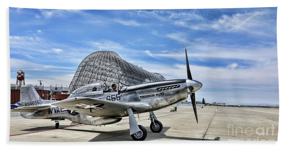 Wwii Bath Sheet featuring the photograph Take Off P-51 Mustang by Chuck Kuhn