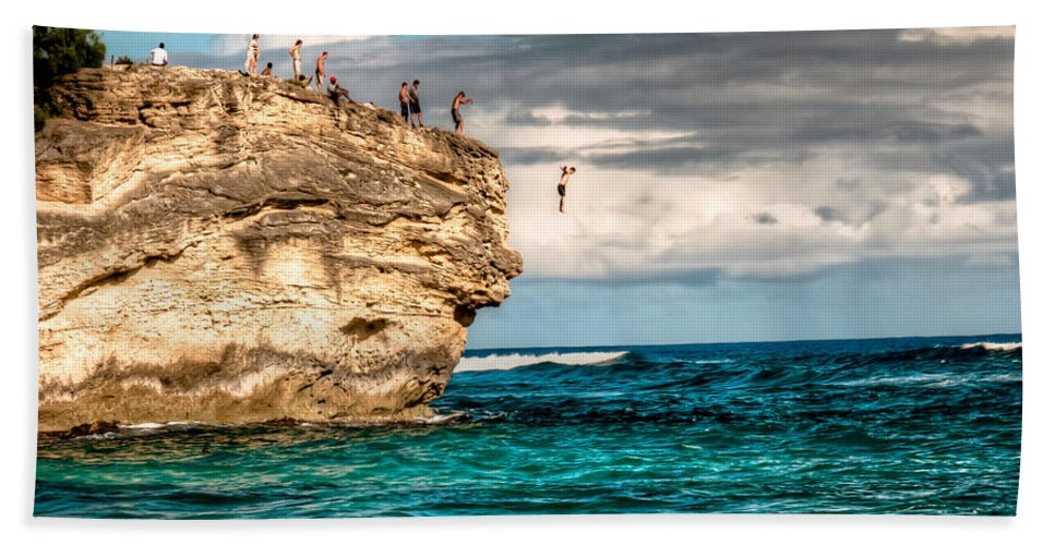 Cliff Bath Towel featuring the photograph Take The Plunge by Natasha Bishop