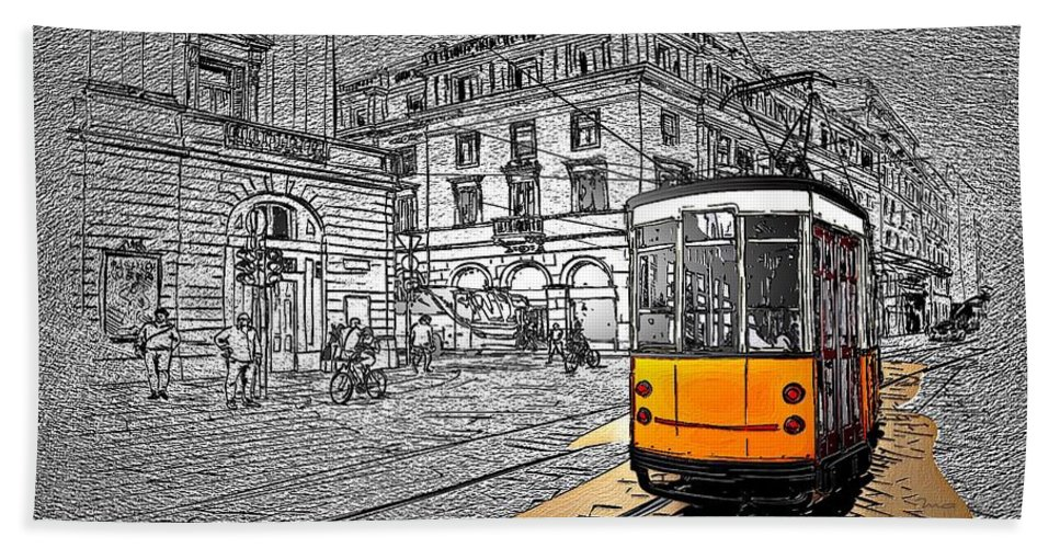 take The Tram Hand Towel featuring the painting Take The Tram by Mark Taylor