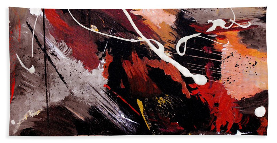 Abstract Hand Towel featuring the painting Take To Heart by Ruth Palmer