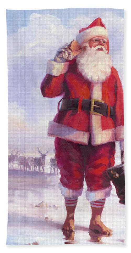 Christmas Hand Towel featuring the painting Taking a Break by Steve Henderson