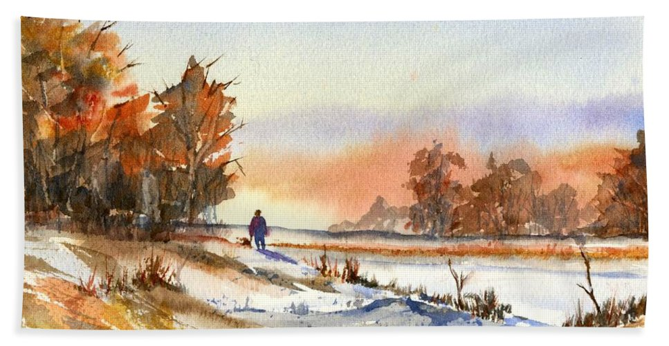 Peaceful Hand Towel featuring the painting Taking A Walk by Debbie Lewis