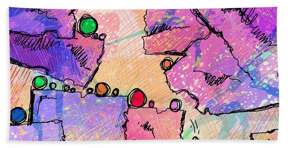 Abstract Bath Sheet featuring the digital art Taking Turns by Rachel Christine Nowicki