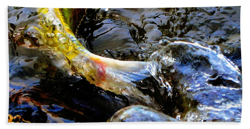 Koi Hand Towel featuring the photograph Tale Of The Wild Koi by September Stone