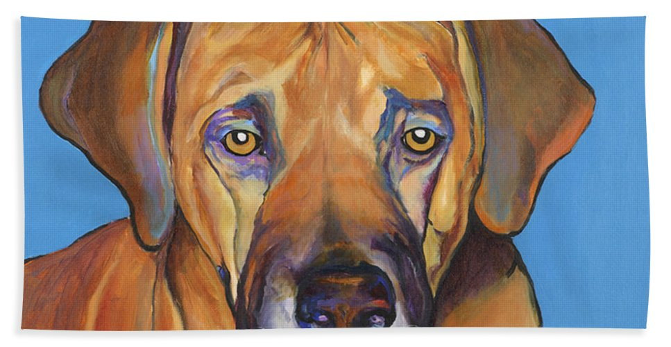 Rhodesian Ridgeback Dog Ridgeback African Colorful Orange Gold Yellow Red Bath Sheet featuring the painting Talen by Pat Saunders-White
