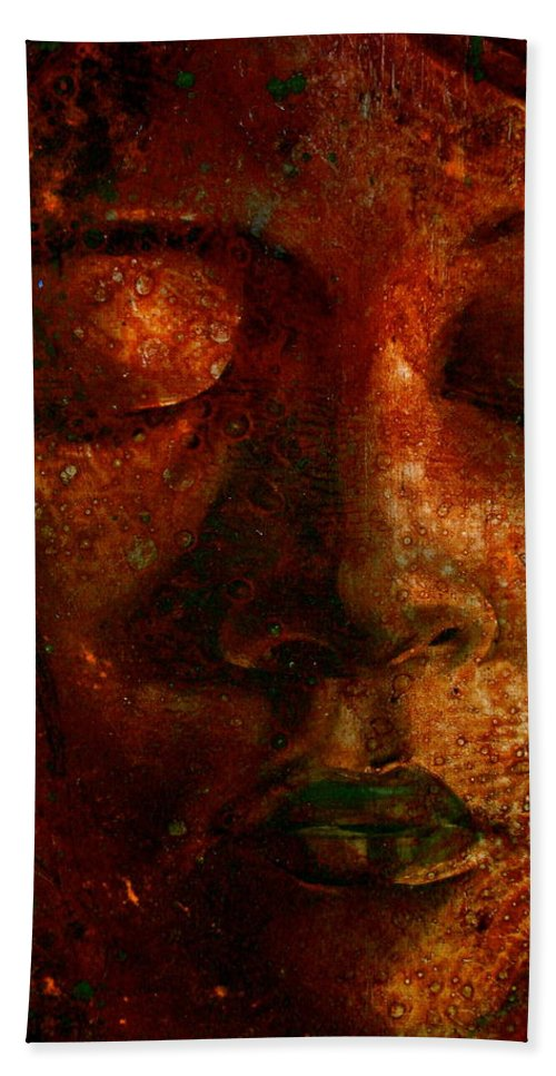 Portraiture Art Bath Sheet featuring the painting Talia by Laura Pierre-Louis