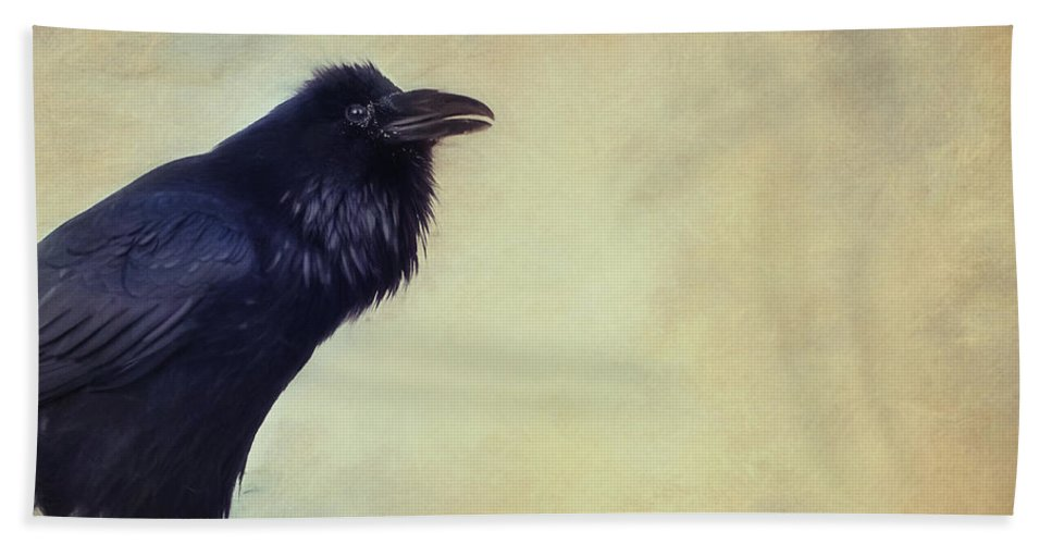 Raven Hand Towel featuring the photograph Talking Of Good Things by Priska Wettstein