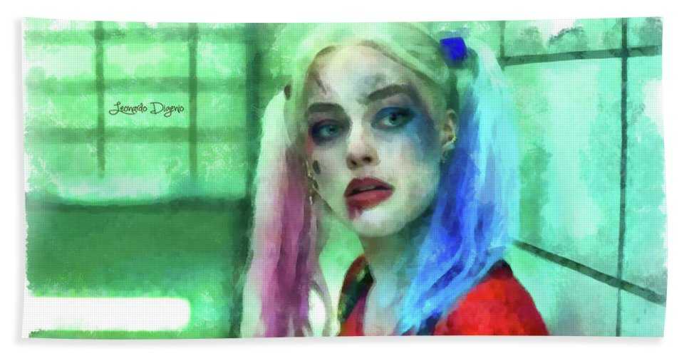 Harley Quinn Hand Towel featuring the painting Talking To Harley Quinn - Aquarell Style by Leonardo Digenio
