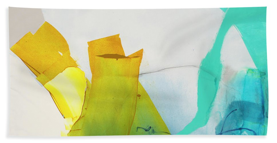 Abstract Bath Towel featuring the painting Talking To Myself by Claire Desjardins