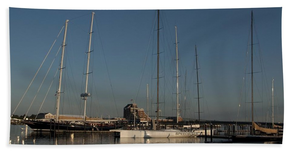 Schooner Bath Sheet featuring the photograph Tall Boats in the Morning by Steven Natanson