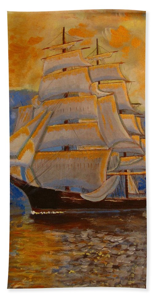 Tall Ship Bath Sheet featuring the painting Tall Ship In The Sunset by Richard Le Page