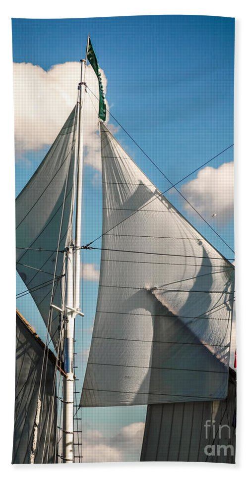 Photography Bath Sheet featuring the digital art Tall Ship Sails IIi by Kathryn Strick