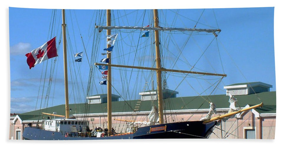 Dock Bath Towel featuring the photograph Tall Ship Waiting by RC DeWinter