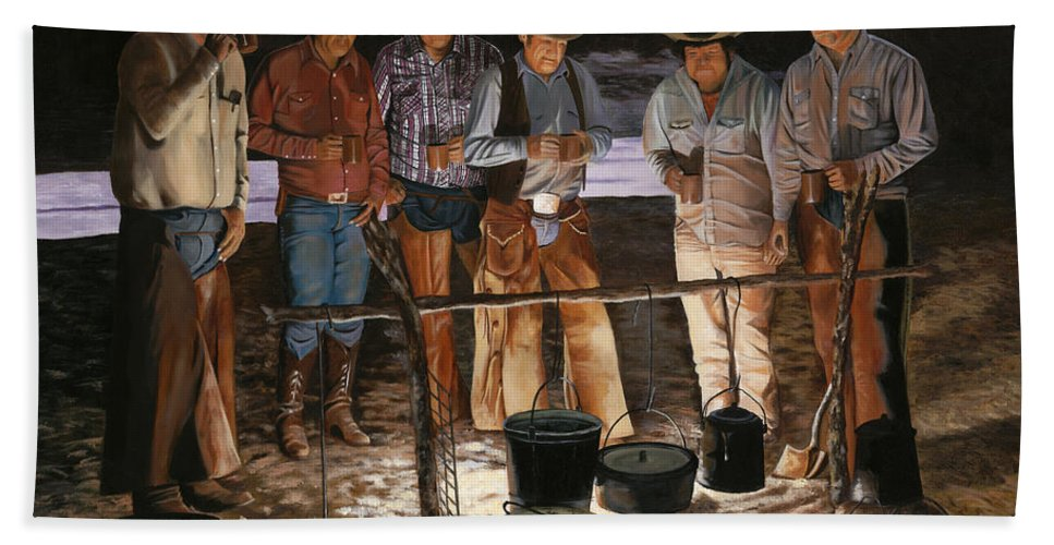 Arizona Hand Towel featuring the painting Tall Tales by Mary Rogers