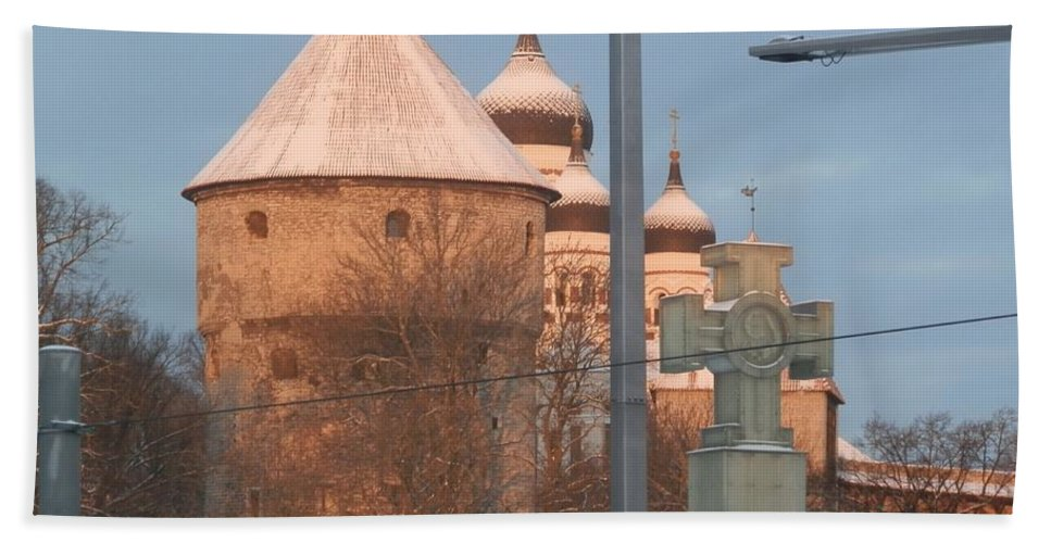 Tallin Hand Towel featuring the photograph Tallin Towers At Sunrise by Margaret Brooks