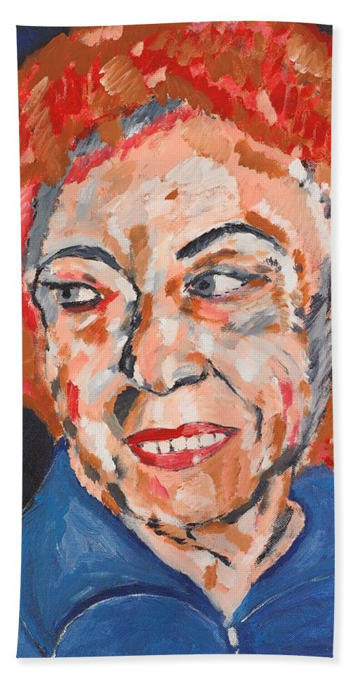 Portrait Bath Towel featuring the painting Tamara by Valerie Ornstein