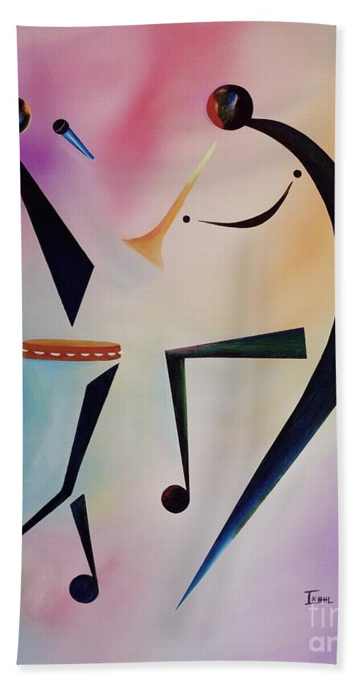 Trumpet Bath Sheet featuring the painting Tambourine Jam by Ikahl Beckford