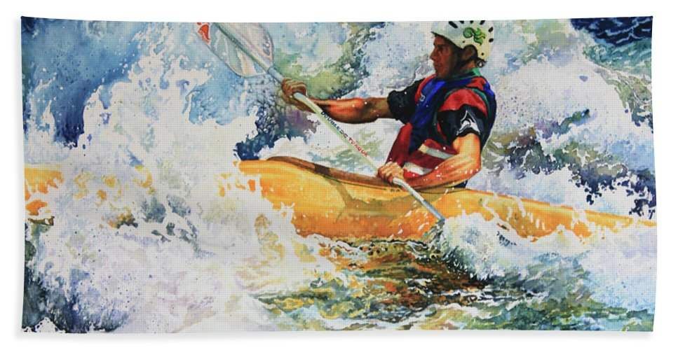 Sports Art Bath Sheet featuring the painting Taming Of The Chute by Hanne Lore Koehler