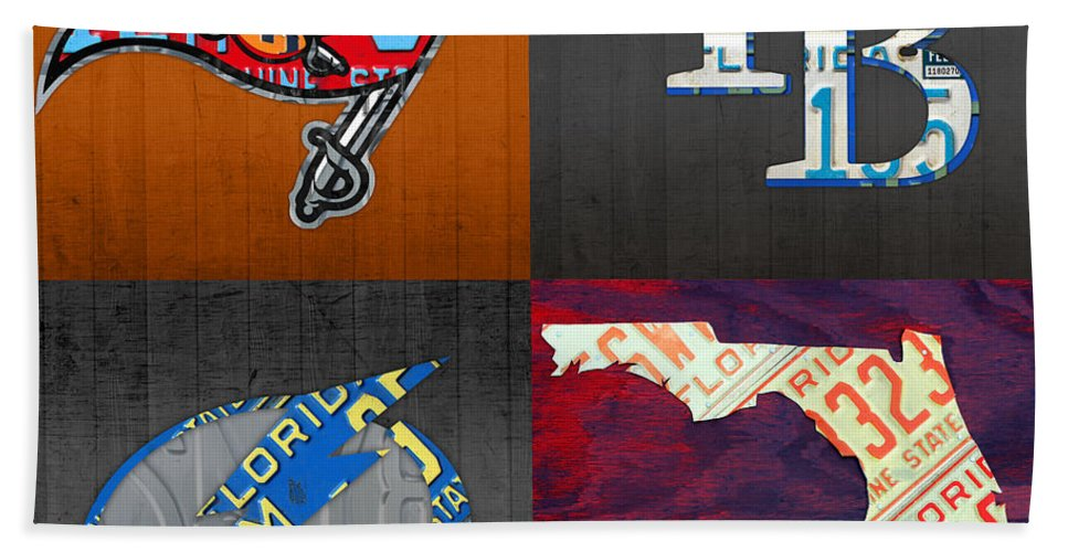 Tampa Bay Bath Sheet featuring the mixed media Tampa Bay Sports Fan Recycled Vintage Florida License Plate Art Bucs Rays Lightning Plus State Map by Design Turnpike