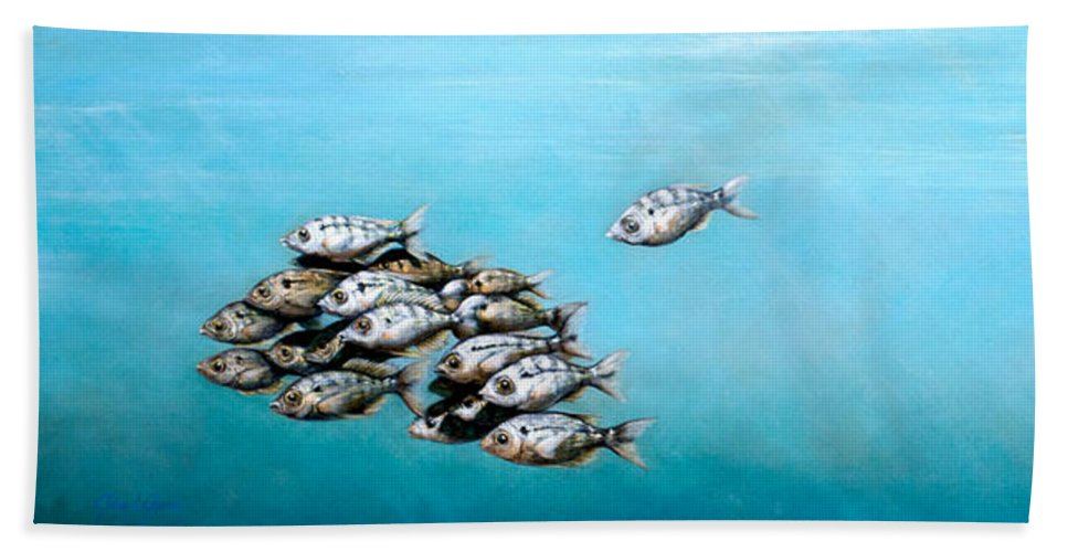 Underwater Bath Sheet featuring the painting Tampa Bay Tarpon by Joan Garcia