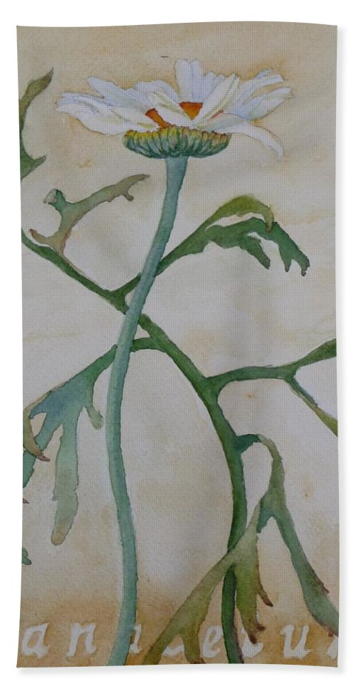 Flower Hand Towel featuring the painting Tanacetum by Ruth Kamenev
