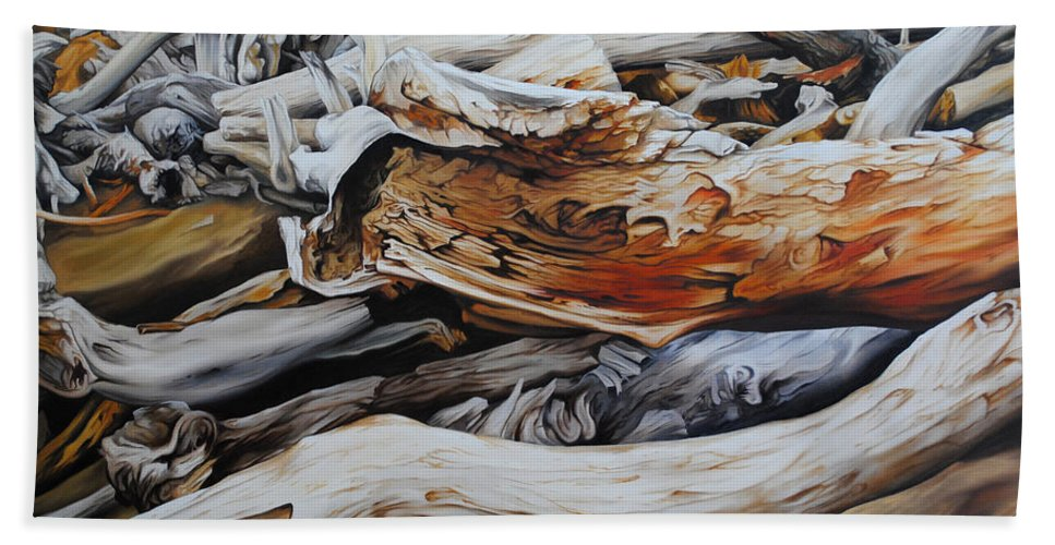 Timbers Bath Sheet featuring the painting Tangled Timbers by Chris Steinken