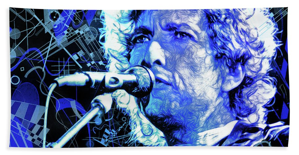 Bob Dylan Hand Towel featuring the mixed media Tangled Up In Blue, Bob Dylan by Mal Bray