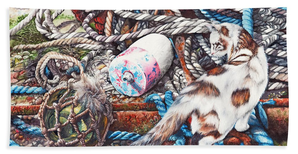 Fishing Bath Sheet featuring the painting Tangled Up In Blue by Peter Williams