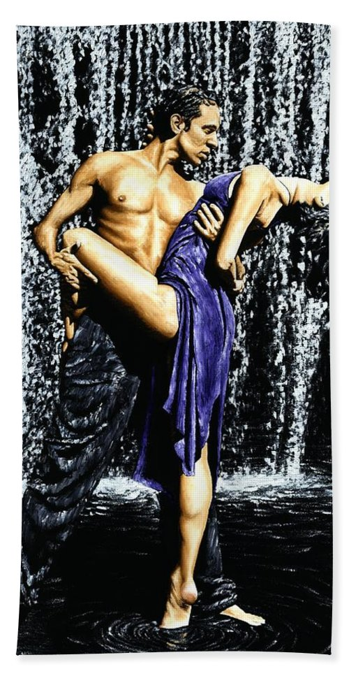 Tango Hand Towel featuring the painting Tango Cascade by Richard Young